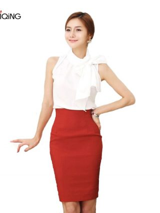 Pencil Skirt Women 19 Elastic High Waist Slim Hips Red Black Formal Saias Feminino Lady OL Office Bodycon Skirts Plus Size