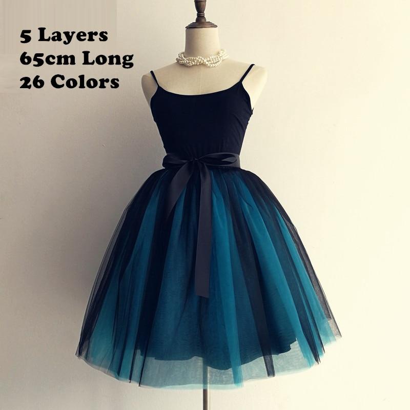 Gothic 5 Layers 65cm Mix Colors Tutu Tulle Skirt Women Streetwear High Waist Pleated Midi Skirts spudniczki jupe rokken faldas