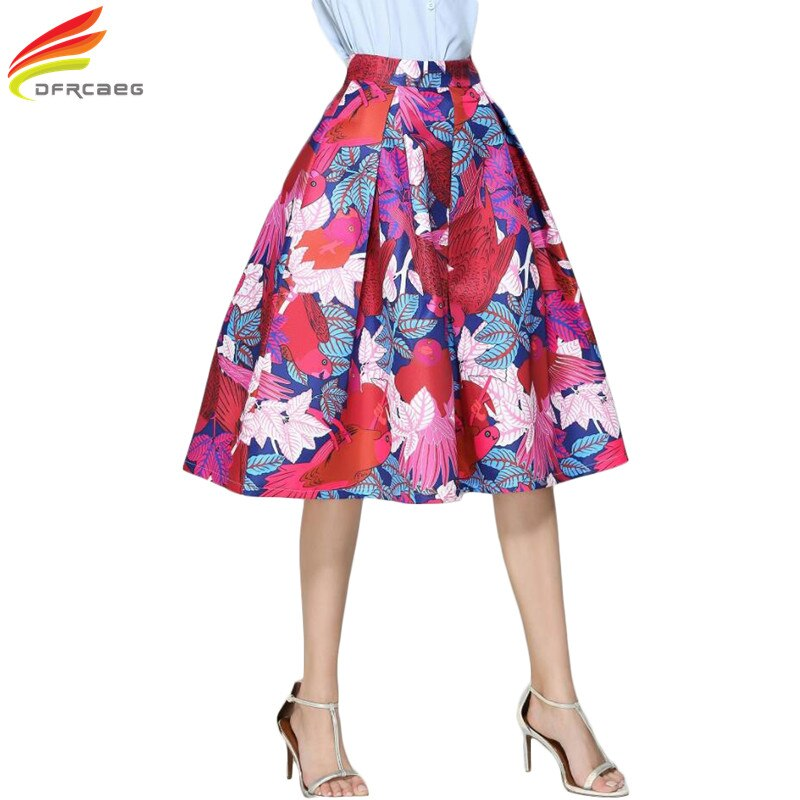 Faldas Vintage 18 Retro Big Swing Red Skirt Print Cartoon A-Line Saias Midi Skirts High Waist Elegant Tutu Pleated Jupe Femme 1