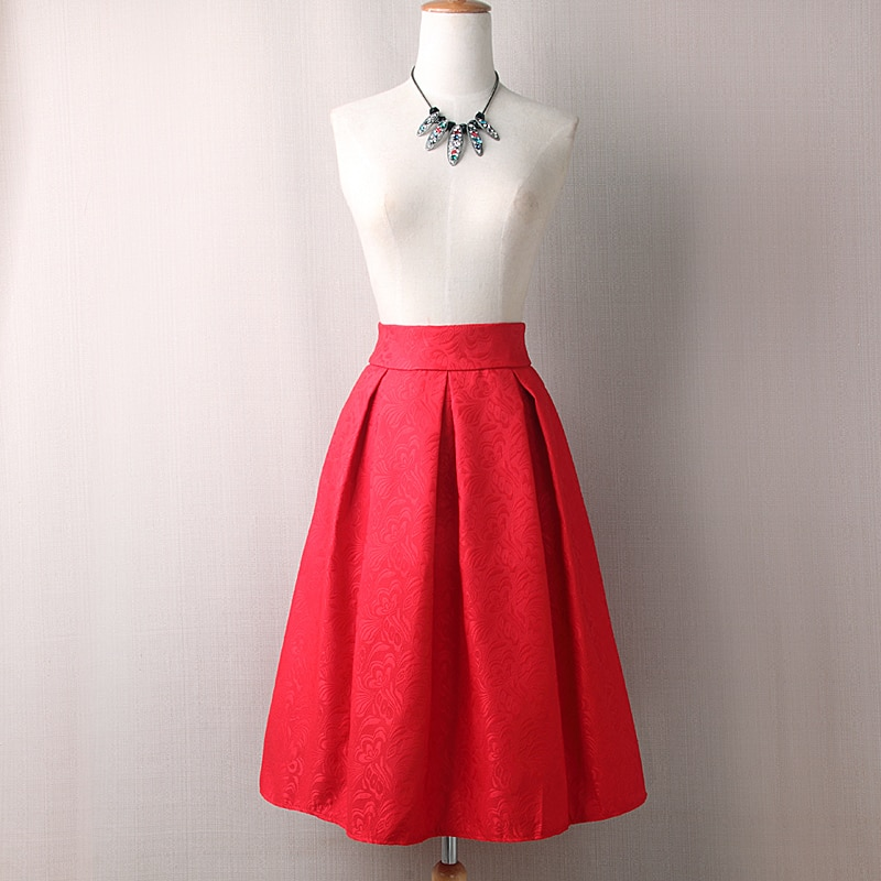 Neophil 19 Winter Black Red Jacquard Pleated Ball Gown Skater Ladies Midi Skirts Womens Plus Size Office Wear Tutu Saia S08044 3