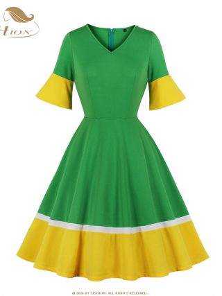 SISHION Half Sleeve Autumn Dress SP0584 Vintage Sexy V Neck New Year Women Ladies Green Christmas Dress