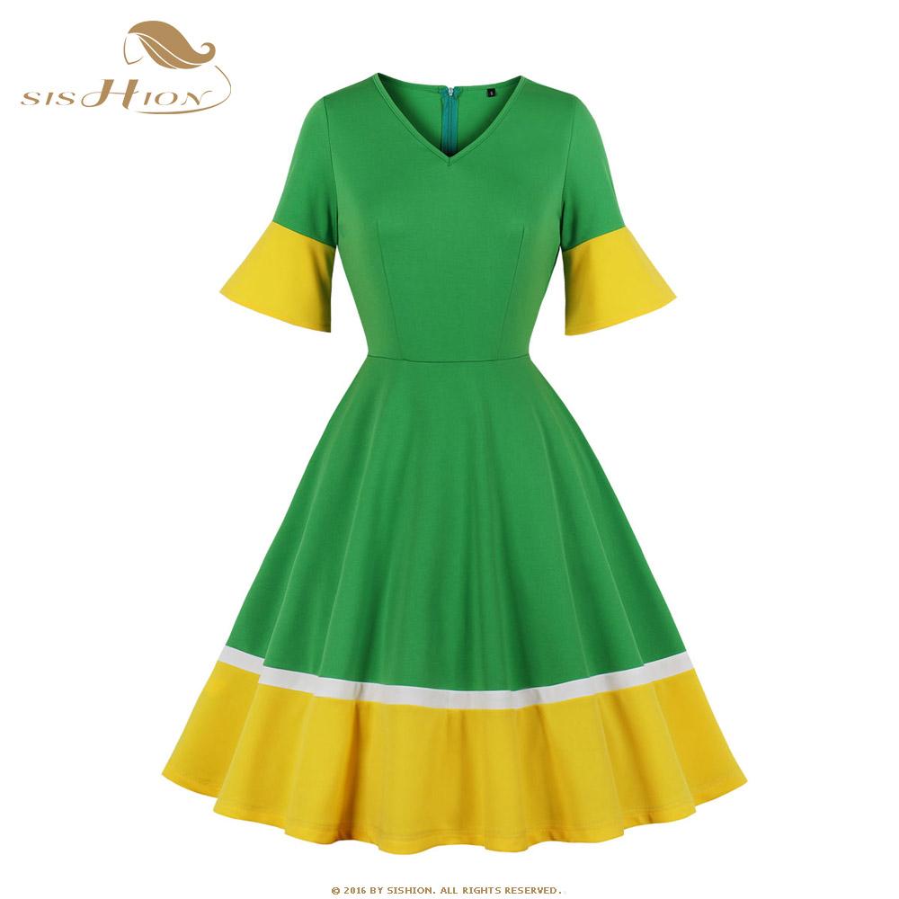 SISHION Half Sleeve Autumn Dress SP0584 Vintage Sexy V Neck New Year Women Ladies Green Christmas Dress