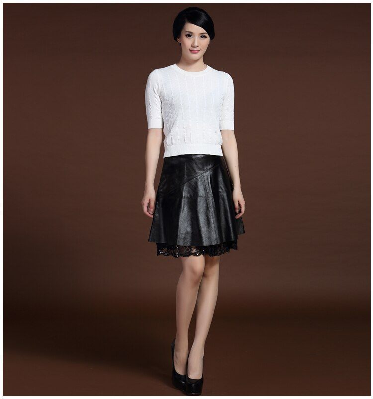 Svadilfari Wholesale New 18 Spring Skirts Solid 100% High Quality Genuine Leather Pleated Umbrella Shape Skirts For Woman 1