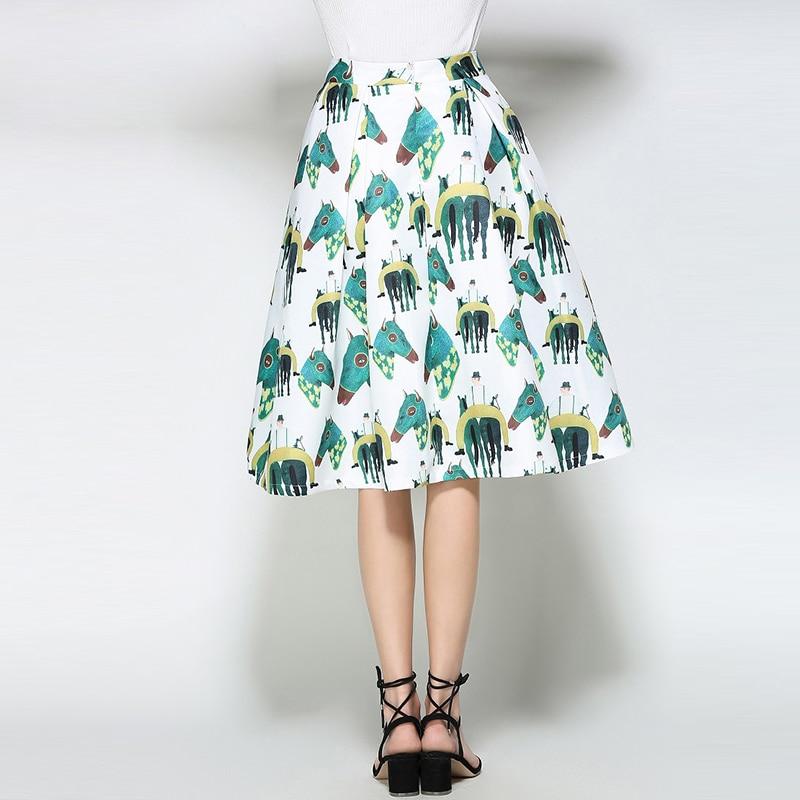 Willstage White Horse Printed Midi Skirts Women Elegant Retro Vintage Tutu Skirt fashion ball gown High Waist 18 Summer Spring 2