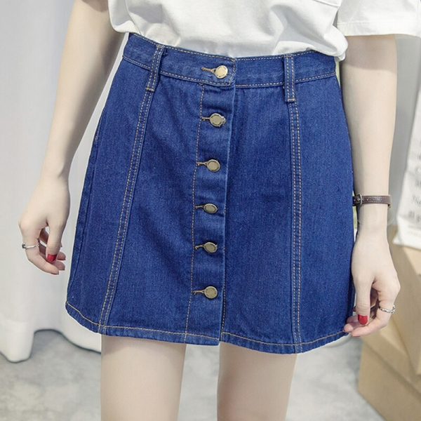 Single-breasted Denim Skirt for Women Vintage High Waist Saia Jeans Feminino Summer Faldas Mini Jupe Female Plus Size Skirts