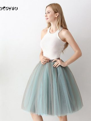 6 Layers Fashion Tutu Tulle Skirt Knee Length Pleated Skirts Womens Wedding skirt Lolita Petticoat Saia Faldas Jupe
