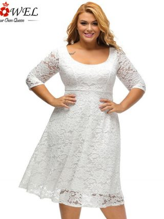 SEBOWEL Plus Size White/Black Floral Lace Curvy A-line Party Dresses Woman Large Size Half Sleeve Dress Female Formal Cocktail