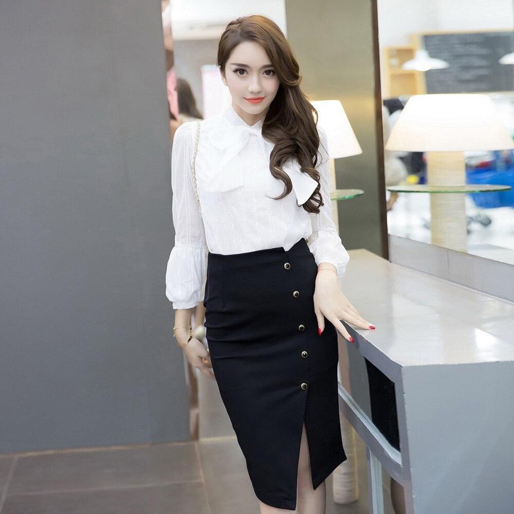 Elegant Women Vintage Office Lady OL Skirts High Waist Buttons Slit Pencil Skirts Women Plus Size S-5XL Stretch Midi Skirts 3