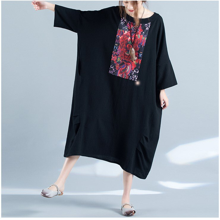 Hot Sale Fashion 19 Summer Women Floral Print Dress Casual Half Sleeve Big Size Dress Loose Ladies Batwing Sleeve Midi Dress 2