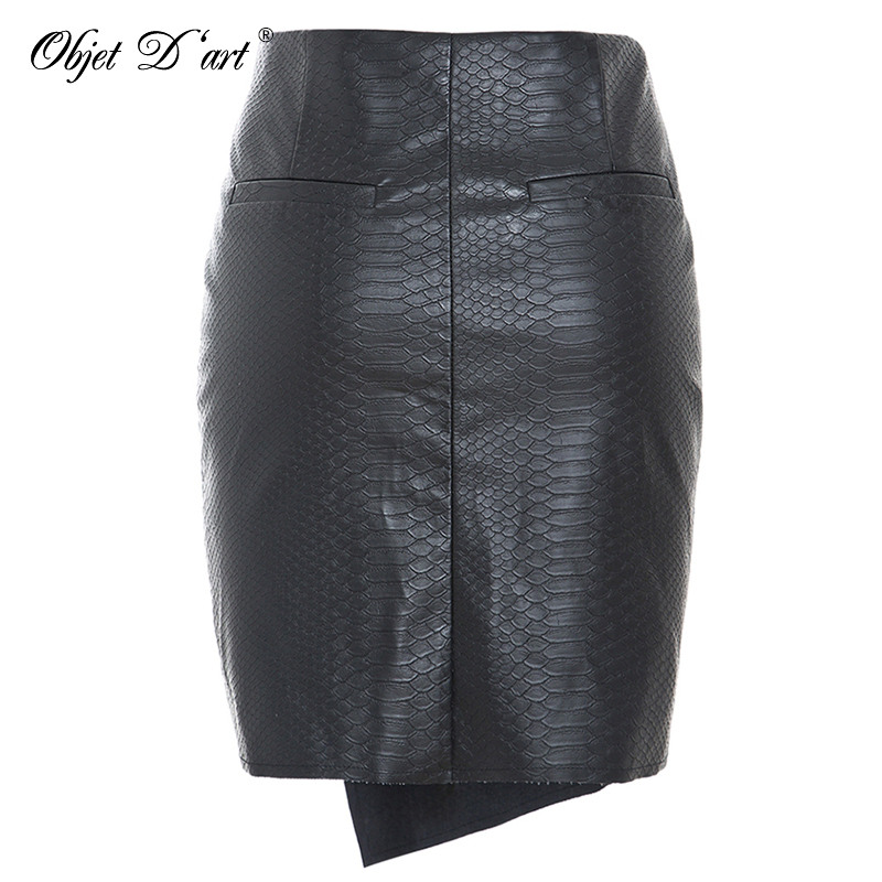 Fashion Women Zipper Up Faux Snake Skin Leather Skirt Polyester Lining Sexy Asymmetrical PU Mini Skirt High Quality For 4 Season 2