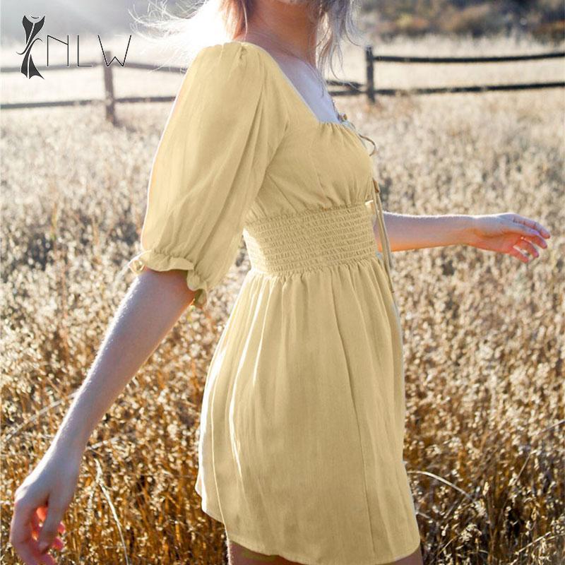 NLW Vintage Puff Sleeve Yellow Dress Women 19 Autumn Half Sleeve Short Dress Elegant Holiday Korean Mini Dress Vestidos 2