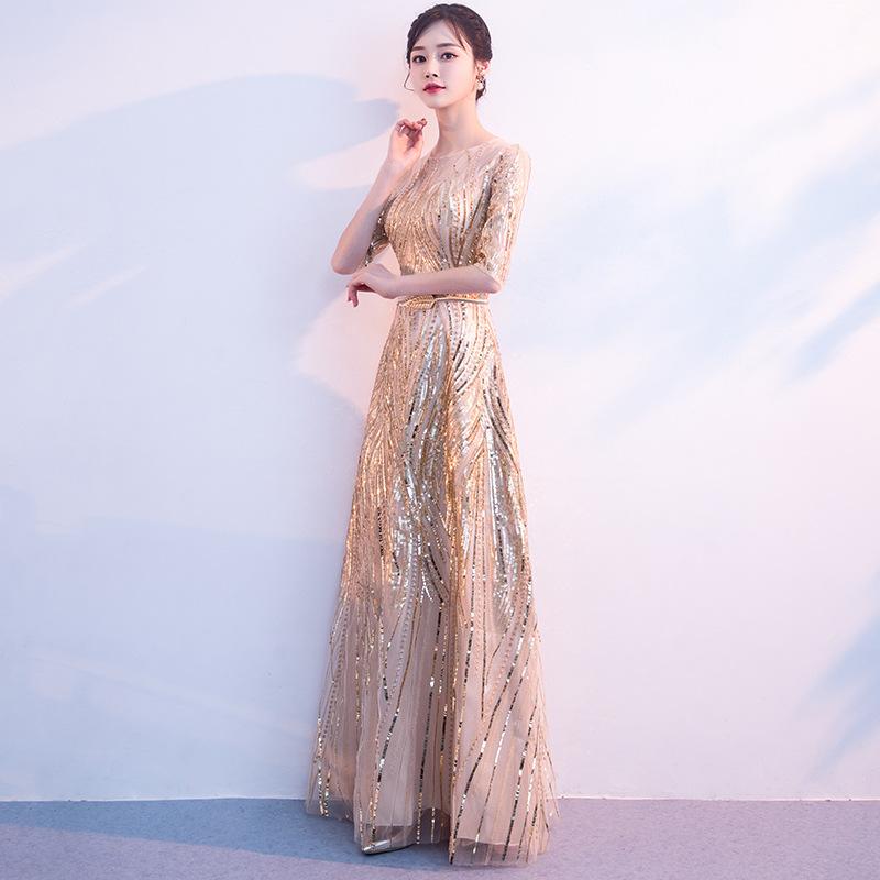 Women's Long Sequined Bling Bling Dress Glitter Longer Party Dress Elegant Rainbow Dresses Empire Waist Half Sleeve Dresses 3