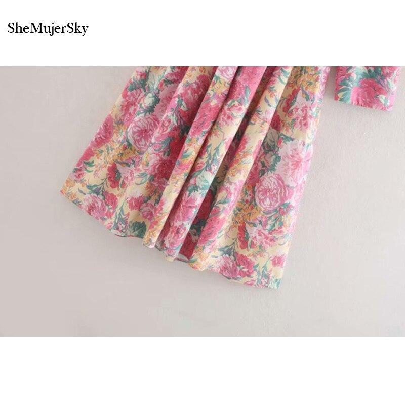 SheMujerSky Summer Women Bohemian Midi Dress With Belt 19 Floral Print V-neck Half Sleeve Boho Dresses 3