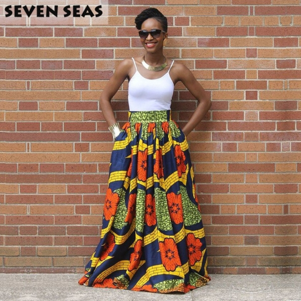 Elegant Long African Print Skirt Vintage Ethnic High Waist Maxi Skirts Jupe Longue Femme
