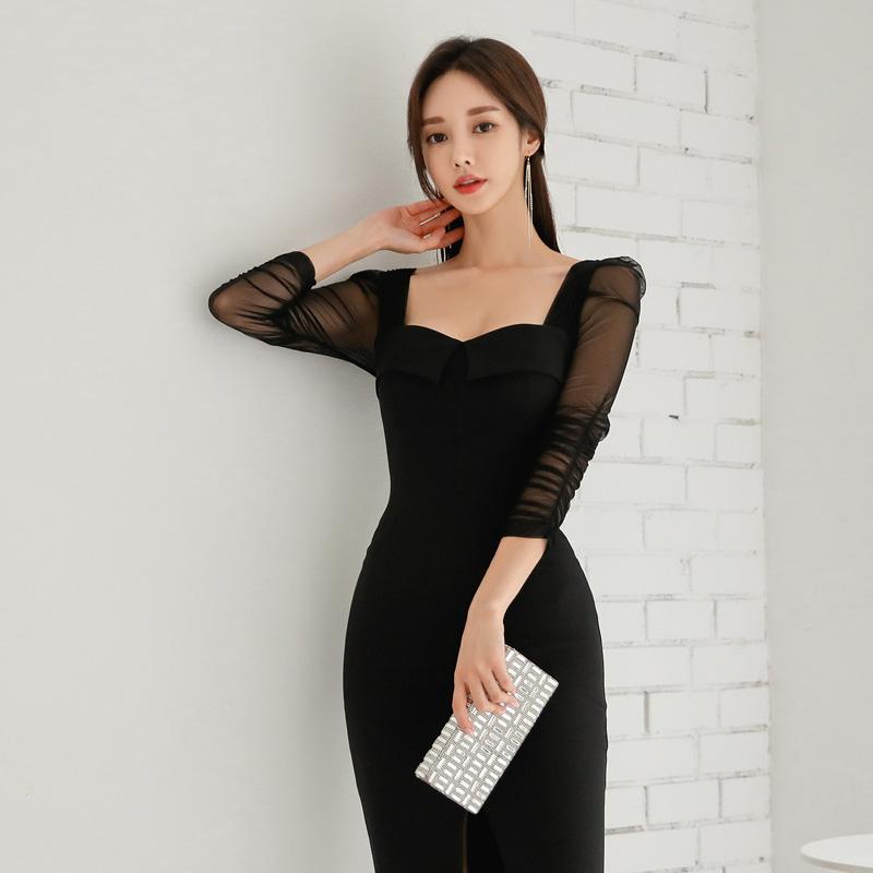 BGTEEVER Elegant Black Square Collar Sheath Women Dress Front-split Half Sleeve Female Dress Pencil Bodycon Vestidos Femme 19 3