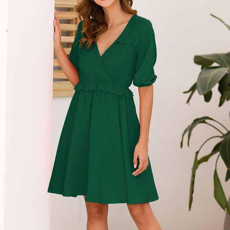 19 Summer Women A-Line Dress Sweet Solid Ruffled Dress Ruffles Half Sleeve V-Neck Mini Dress 1