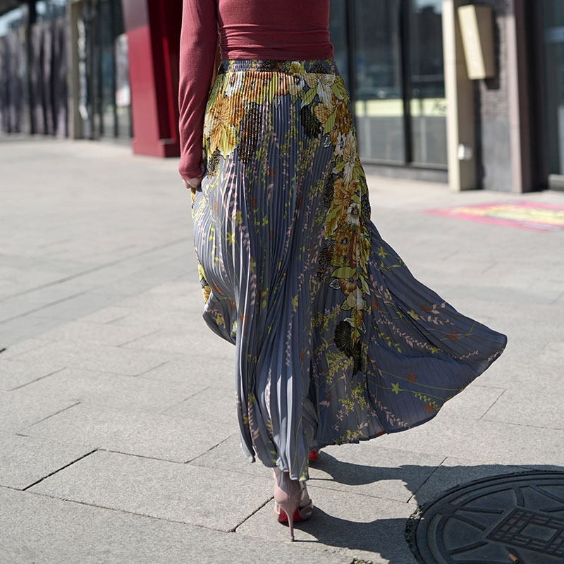 FLOWER SKY Summer Chiffon Floral Printed Female New Fashion Vintage Pleated Skirt Women Long Maxi Party Skirts Womens 2