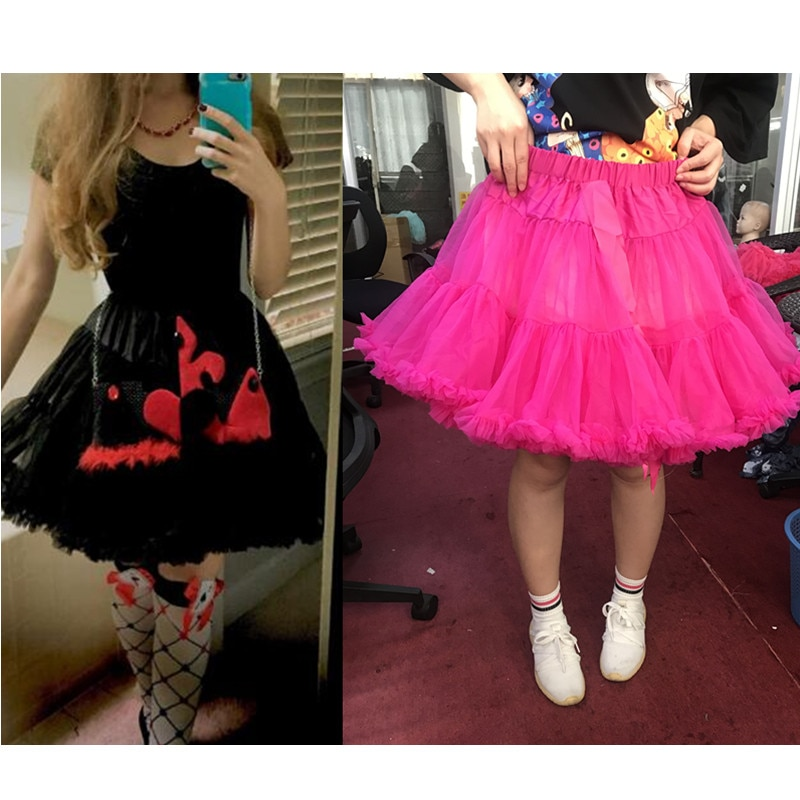 Womens Solid Color Tulle Skirts Fluffy Tutus Pettiskirts Tutu Skirts Big Girls Princess Party Skirt For Lady adult tulle skirt 1