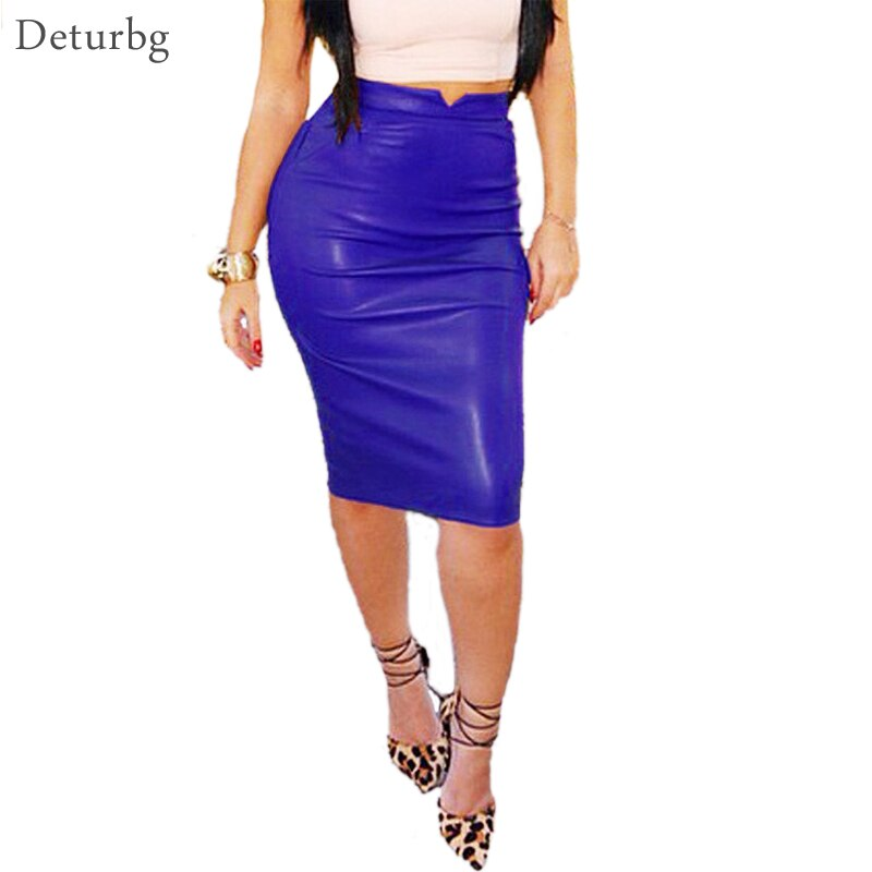 Women's Sexy Flocking Faux Leather Skirt Fashion Spring Autumn Plus Size Casual Ladies Pencil Knee-length PU Office Skirts SK42 1