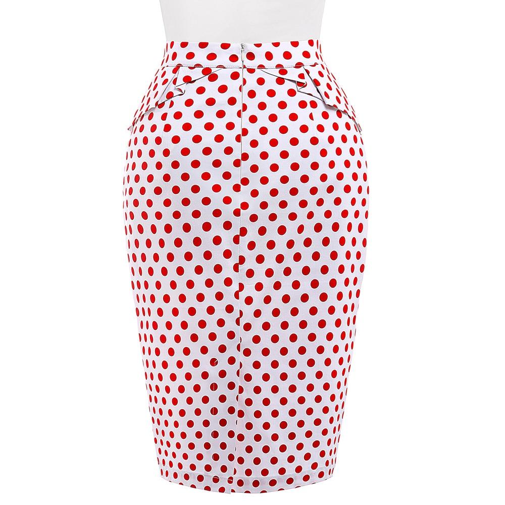 Belle Poque 18 Summer Pencil Skirt Women High Waist Faldas Vintage 50s Elegant Casual Party Bodycon Floral Print Midi Skirts 3