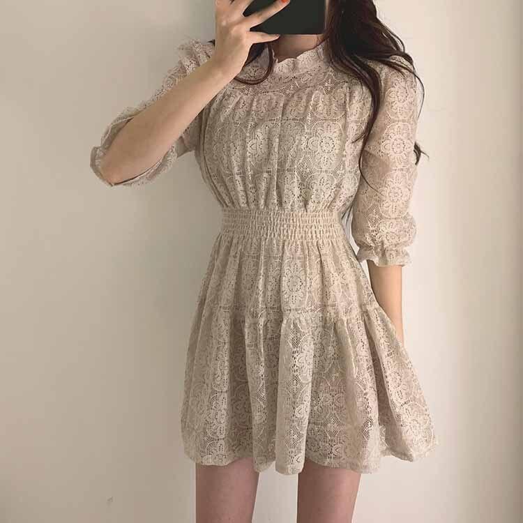 19 Summer Women Lace Dress O-neck Half Sleeves A-line Dress Solid Ruffle Lace Patchwork Dress Vestidos