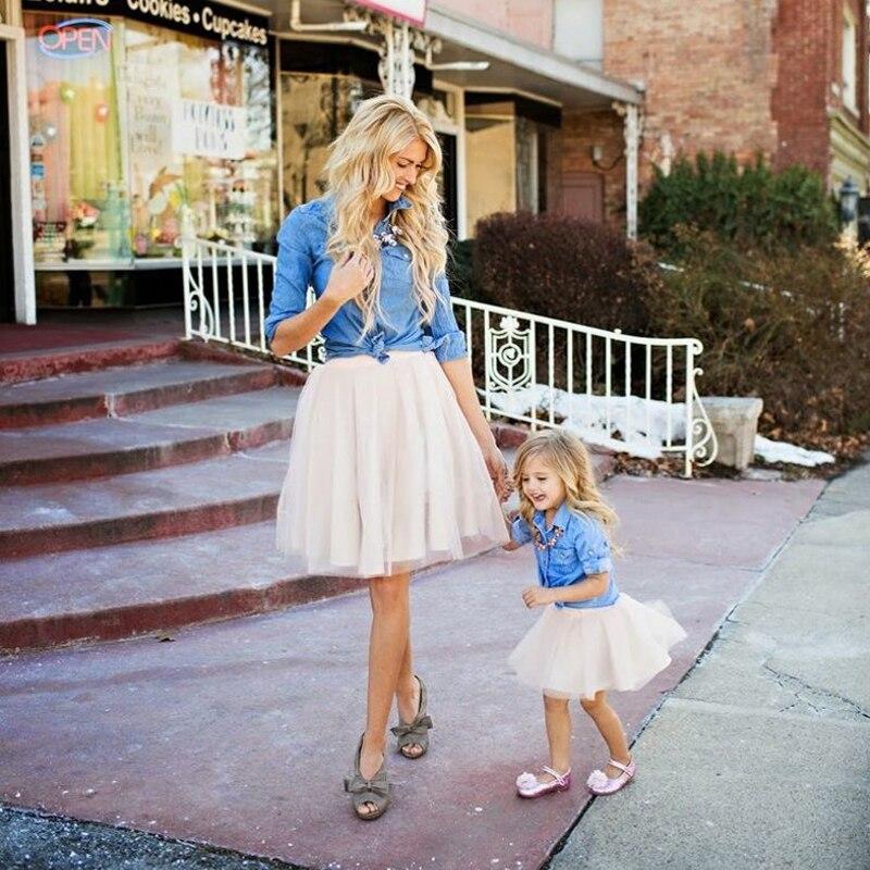 Mother and Daughter Tutu Skirt Mini Custom Made saia Voile Bouffant Puffy Fashion Skirt Autumn Midi Tulle Skirts girl