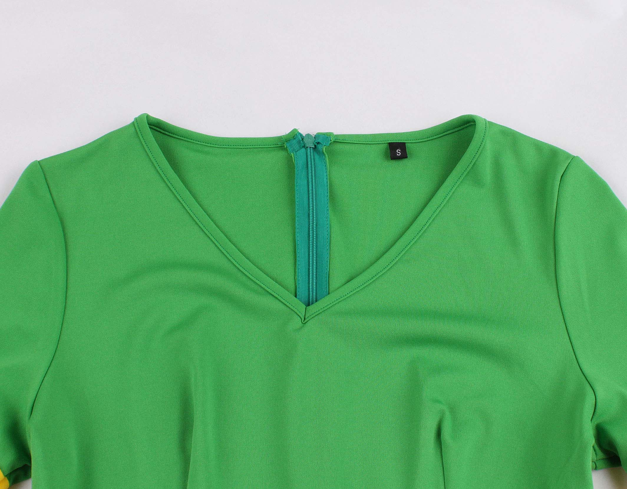 Casual Women v Neck Vintage Dress 1/2 Half Sleeve Flare Sleeve Solid Color Polyester Dress Green And Yellow 3
