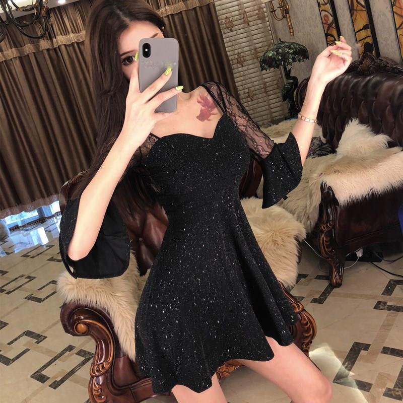 Sexy Black Half Sleeve Short Dress Party Stitching V-Neck Transparent Dress High Waist Lace Flare Sleeve A-Line Dress 2