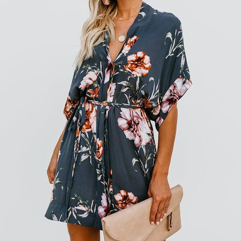 19 New Summer Women Boho Style Floral Print Dress Lace Up Sexy Deep V-neck Half Sleeve Beach Sundress Dress Female