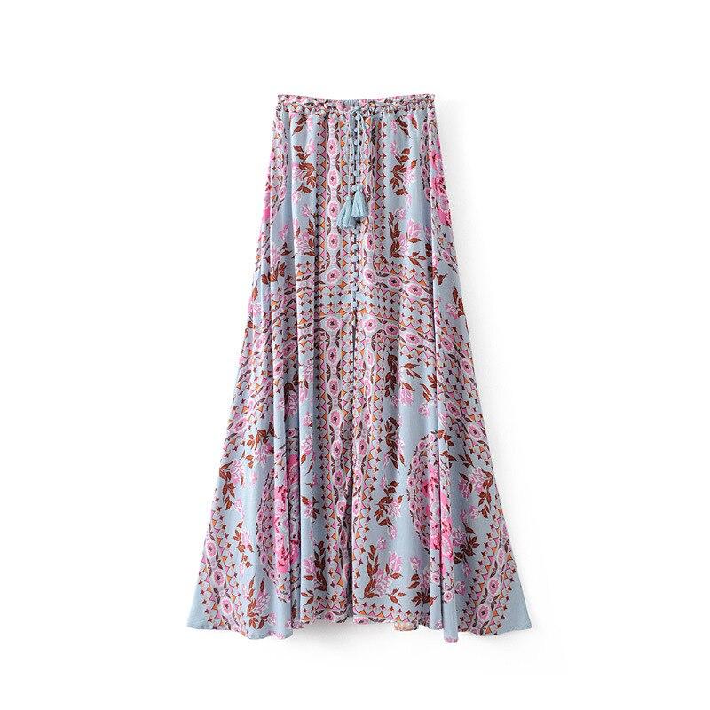 19 Floral Print Summer Women's Skirt Bohemian Elastic Waist Buttons Tassel Belt Long Maxi skirts Brand Clothing Female Saia 1