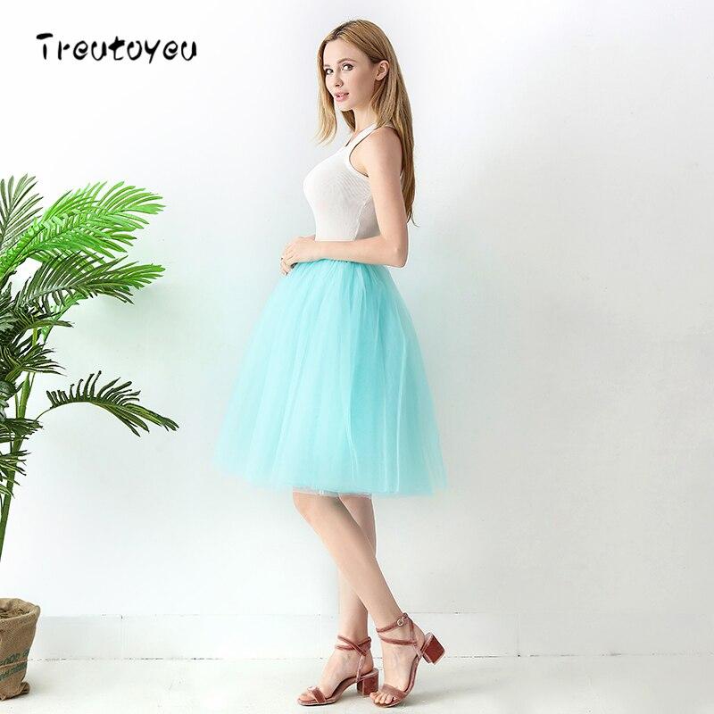 High Waist 6 Layer Midi Tulle Skirt Tutu Skirts Womens Petticoat Elastic Belt Summer faldas saia jupe 18 3