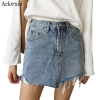 Summer Pencil Skirt 19 High Waist Washed Women Skirts Irregular Edges Denim Jupe All Match Mini Saia Plus Size Women's Faldas