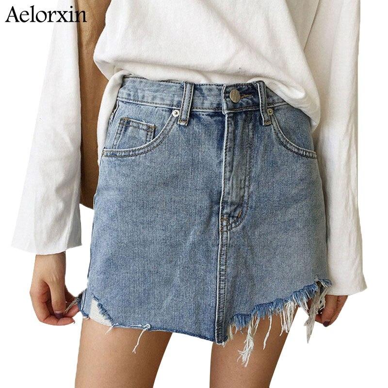 Summer Pencil Skirt 19 High Waist Washed Women Skirts Irregular Edges Denim Jupe All Match Mini Saia Plus Size Women's Faldas