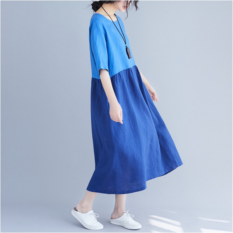 Johnature 19 Summer Women Clothing New Loose Patchwrok Hit Color Casual Dresses Half Sleeve O-neck Pockets Women Dress 3