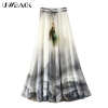 Uwback Max Skirt Women 18 New Summer Chiffon Skirts Woman Pleated Print Boho Elastic Waist Women Causal Saias Mujer TB1396