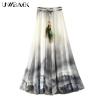 Uwback Max Skirt Women 18 New Summer Chiffon Skirts Woman Pleated Print Boho Elastic Waist Women Causal Saias Mujer TB1396
