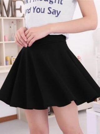 19 Summer Black Blue Fashion Womens Skirts High Waist Pleated Skirt Vintage Ladies Solid Color Skater Skirt For Women