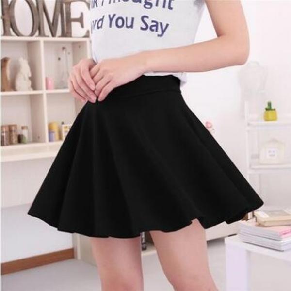 19 Summer Black Blue Fashion Womens Skirts High Waist Pleated Skirt Vintage Ladies Solid Color Skater Skirt For Women