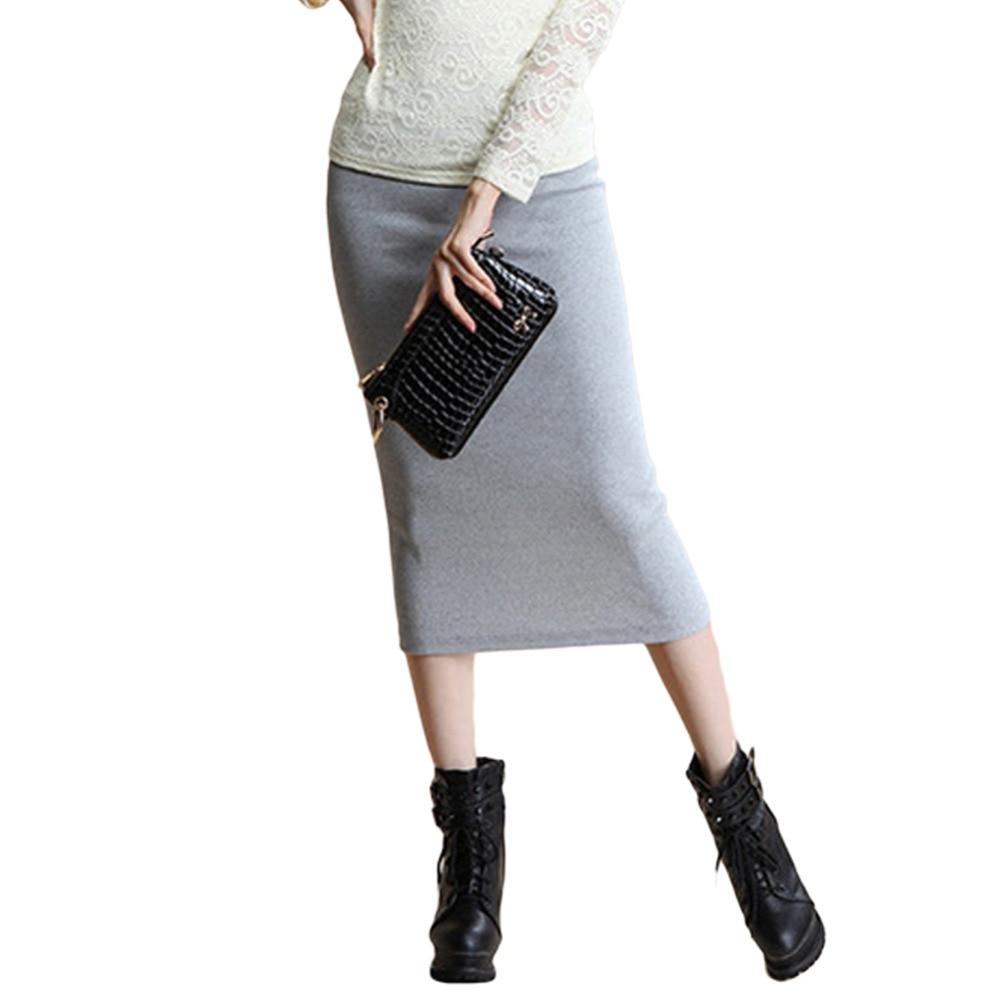 Danjeaner 17 Autumn Winter Women Slim Split Long Skirts High Waist Knitted Cotton Pencil Skirts Super Elastic Maxi Skirts 3