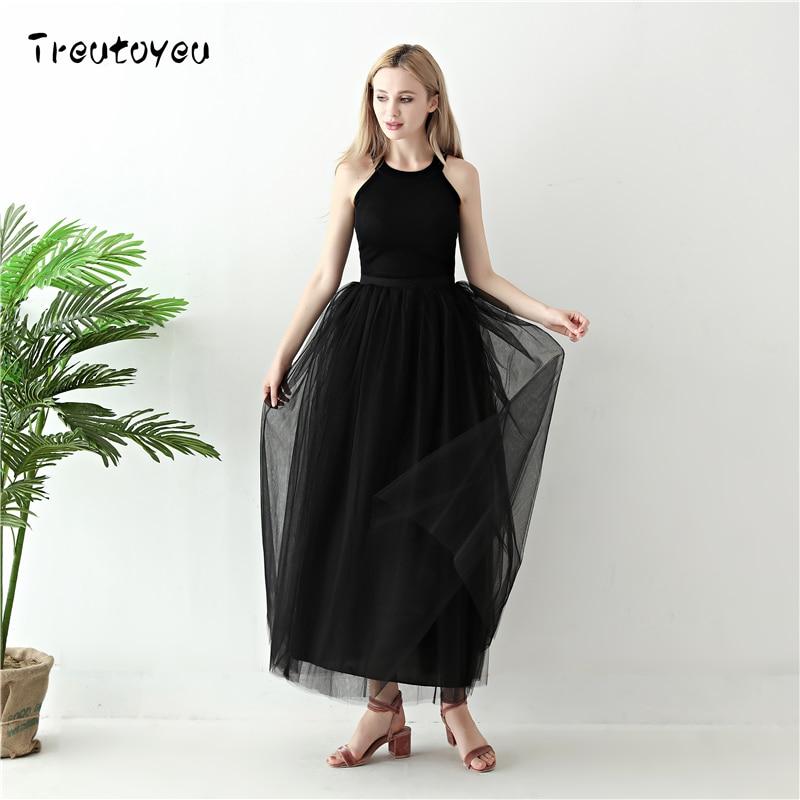 5 Layers Long Tutu Skirts 18 Summer Fashion Womens Princess Fairy Style Voile Tulle Skirt Bouffant Puffy Fashion Skirt 2
