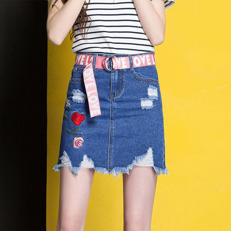 3XL Denim Skirt 17 Women Spring Summer Slim Embroidery Mini Skirt Jeans Hole Womens High Waist Office Pencil Denim Skirts CS17 1