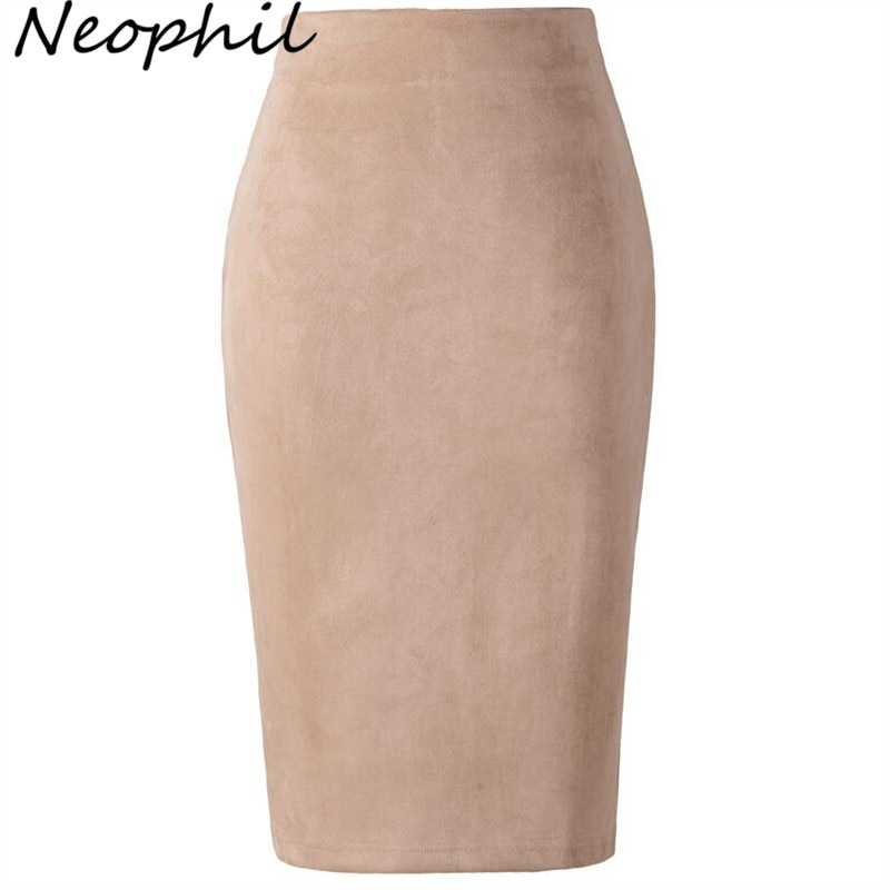 Neophil 19 Winter Women Suede Midi Pencil Skirt High Waist Gray Pink XXL Sexy Style Stretch Wrap Ladies Office Work Saia S1009 1