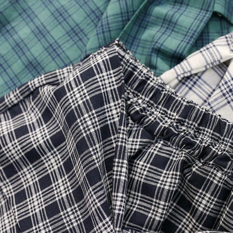 HziriP Cotton Fake Two Pieces-shirts Plaid Skirts Women Casual Stretch Waist Summer Midi Skirt 17 Fashion Asymmetrical Skirts 2