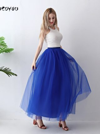 Treutoyeu 5 Layers Maxi Long Women Skirt Tulle Skirts Bridesmaid Wedding Skirt Free Size Faldas Saias Femininas Jupe