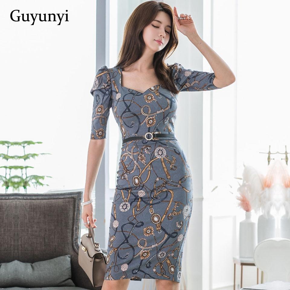 Fashion Pattern Office Lady Dress 19 Autumn High Waist Slim Decorative Belt Half Sleeve Simple Elegant Party Dress Women