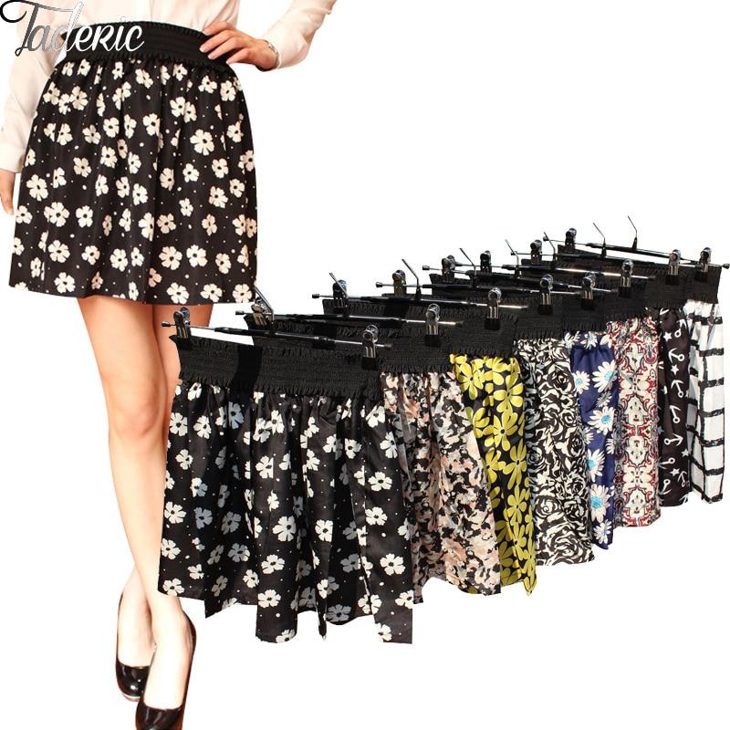 Jaderic 18 new fashion Pleated Retro High Waist Summer floral plaid short chiffon skirts mini skirt   10 Styles 1