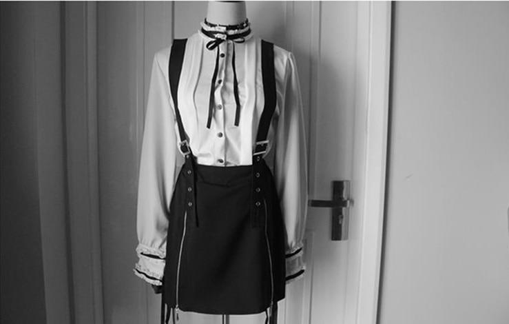 Dark Black 2 Wears High Waist Belt Mosaic Lattice Zip Suspenders Skirt For Ladies Red Stretchy Cute Punk 17 Party Strap Skirt 2