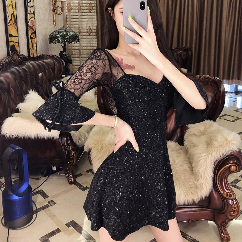 Sexy Black Half Sleeve Short Dress Party Stitching V-Neck Transparent Dress High Waist Lace Flare Sleeve A-Line Dress 3