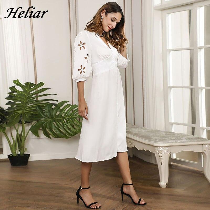 HELIAR Floral Hollow Out Sleeve V-Neck Dress Buttons Half Sleeve White Dress Women Autumn Elegant A-Line Dress For Women Clothes 1
