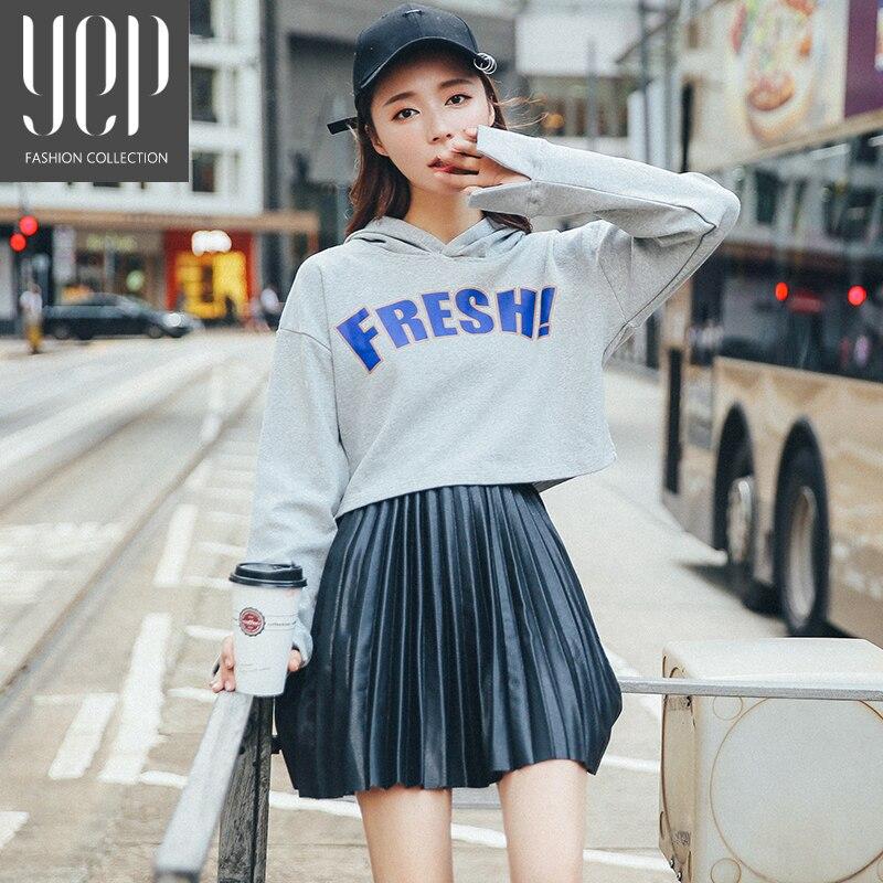 New 17 autumn fashion A type pu leather pleated skirt women elastic waist high quality original black mini skirt women faldas 2